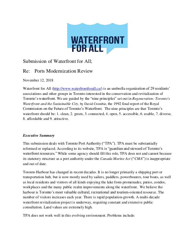 Submission of Waterfront for All; Re: Ports Modernization Review November 12, 2018 Waterfront for All (http://www.waterfro...