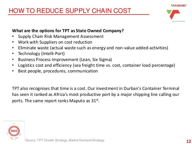 12 HOW TO REDUCE SUPPLY CHAIN COST 12 What are the options for TPT as State Owned Company? • Supply Chain Risk Management ...