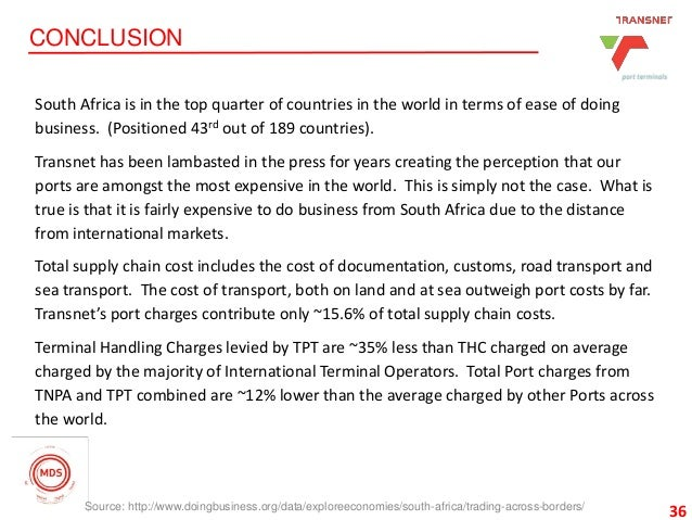 36 CONCLUSION 36 South Africa is in the top quarter of countries in the world in terms of ease of doing business. (Positio...