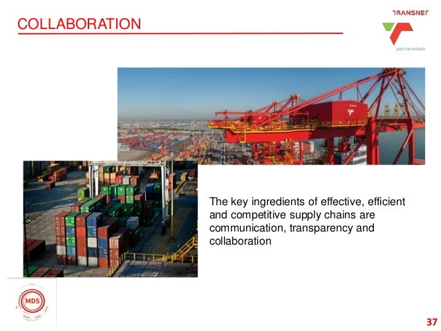 37 COLLABORATION 37 The key ingredients of effective, efficient and competitive supply chains are communication, transpare...