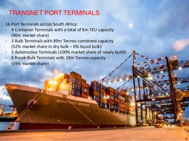 5 OUR TERMINALS TRANSNET PORT TERMINALS 16 Port Terminals across South Africa: - 4 Container Terminals with a total of 8m ...