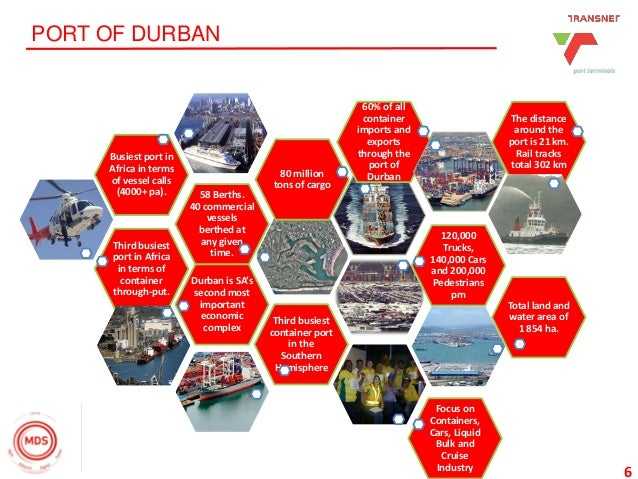 6 PORT OF DURBAN Third busiest port in Africa in terms of container through-put. 58 Berths. 40 commercial vessels berthed ...