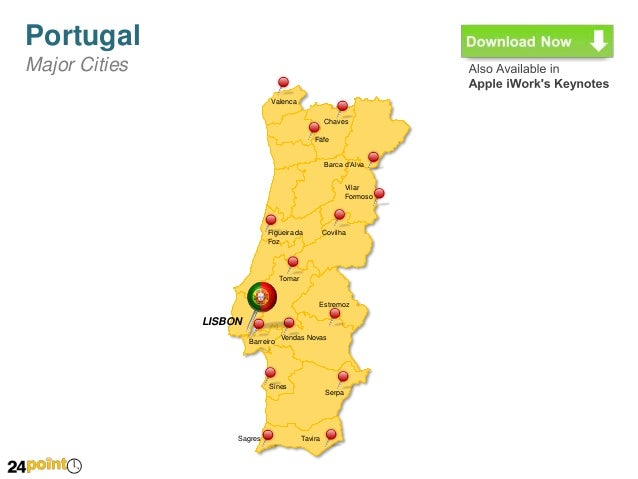 Portugal Map Editable PPT - Portugal map major cities