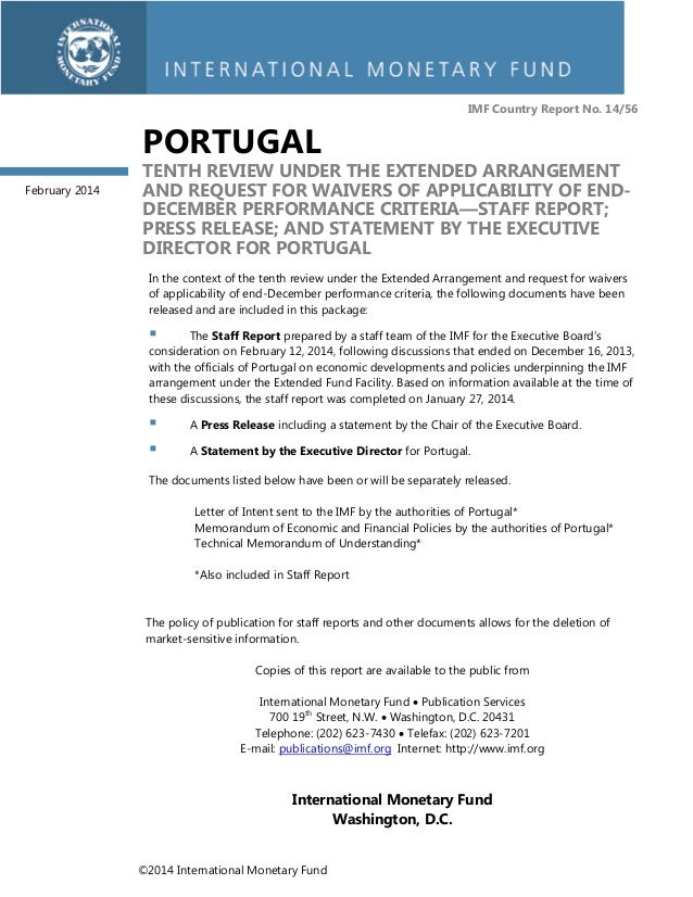IMF Country Report No. 14/56  PORTUGAL February 2014  TENTH REVIEW UNDER THE EXTENDED ARRANGEMENT AND REQUEST FOR WAIVERS ...