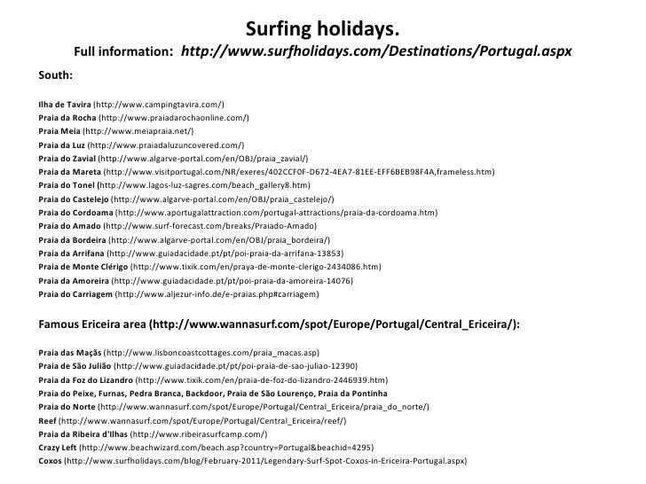 Surfing holidays.         Full information: http://www.surfholidays.com/Destinations/Portugal.aspxSouth:Ilha de Tavira (ht...