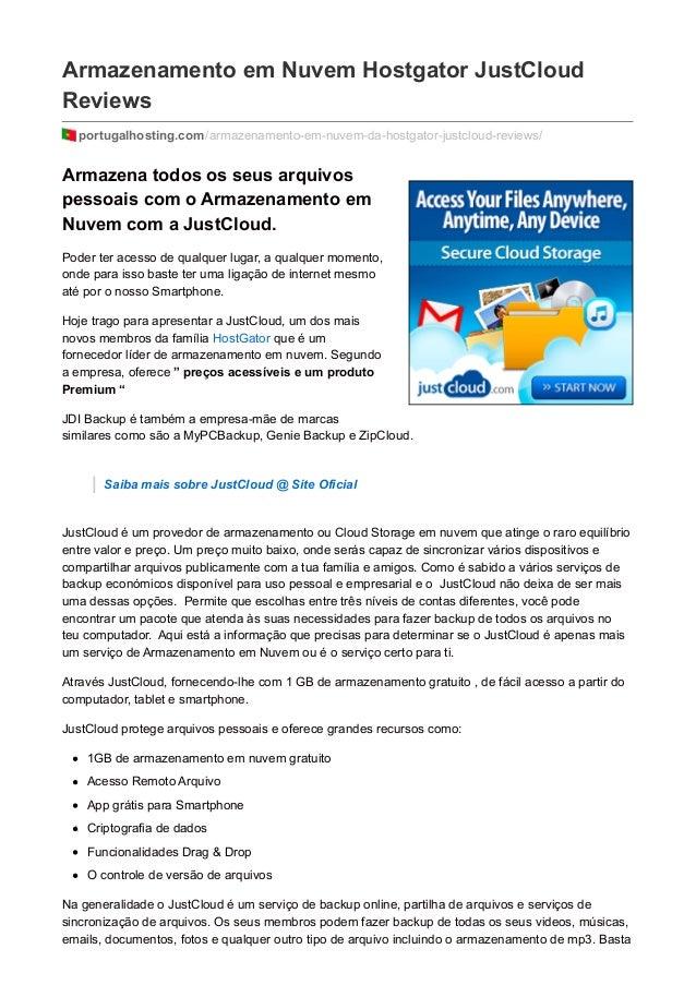 Armazenamento em Nuvem Hostgator JustCloud Reviews portugalhosting.com/armazenamento-em-nuvem-da-hostgator-justcloud-revie...