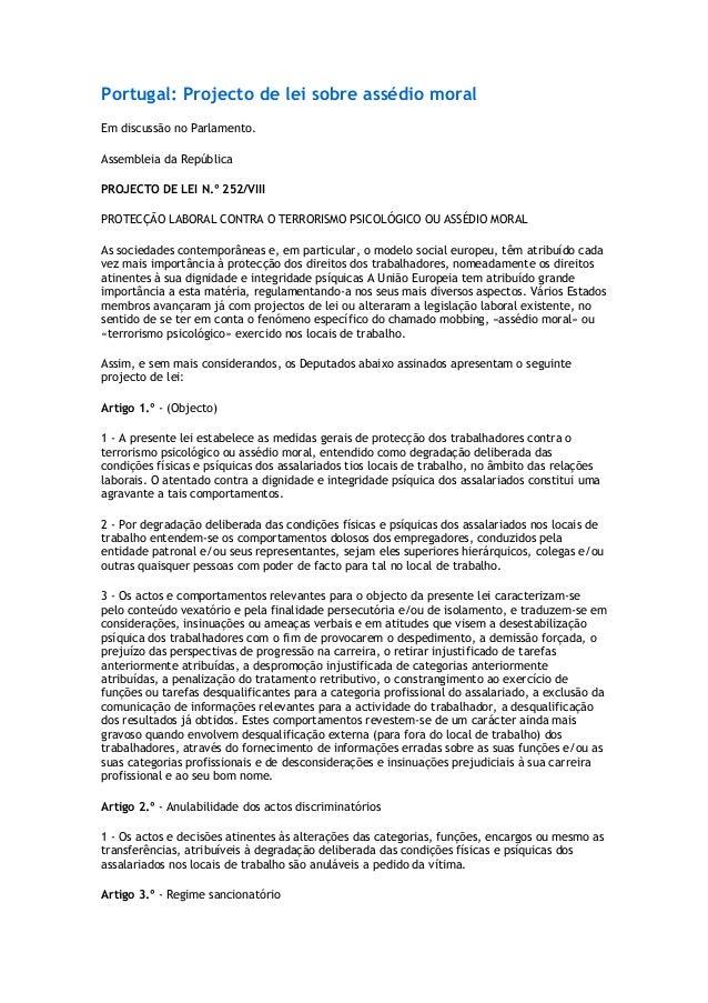 Portugal: Projecto de lei sobre assédio moral Em discussão no Parlamento. Assembleia da República PROJECTO DE LEI N.º 252/...