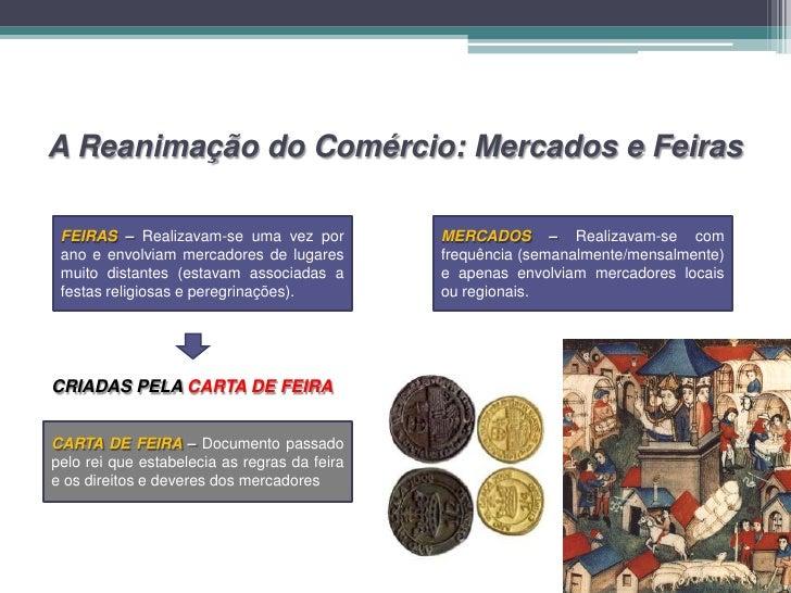 A Reanimação do Comércio: Mercados e Feiras FEIRAS – Realizavam-se uma vez por           MERCADOS – Realizavam-se com ano ...