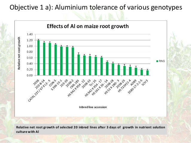 Objective 1 a): Aluminium tolerance of various genotypes Relative net root growth of selected 20 inbred lines after 3 days...
