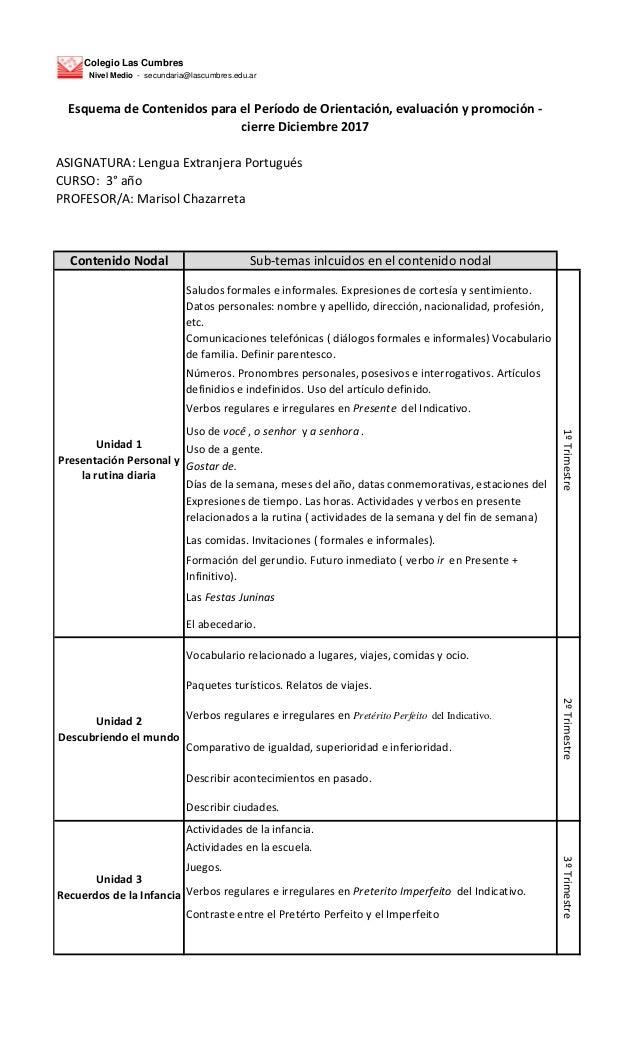 Colegio Las Cumbres Nivel Medio - secundaria@lascumbres.edu.ar ASIGNATURA: Lengua Extranjera Portugu�s CURSO: 3� a�o PROFE...