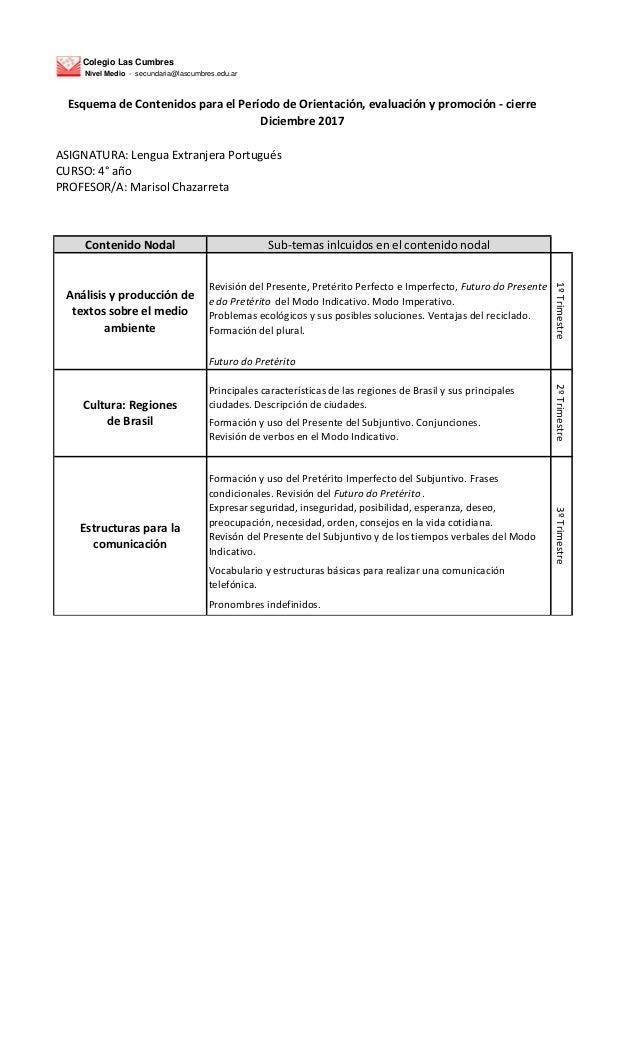 Colegio Las Cumbres Nivel Medio - secundaria@lascumbres.edu.ar ASIGNATURA: Lengua Extranjera Portugu�s CURSO: 4� a�o PROFE...