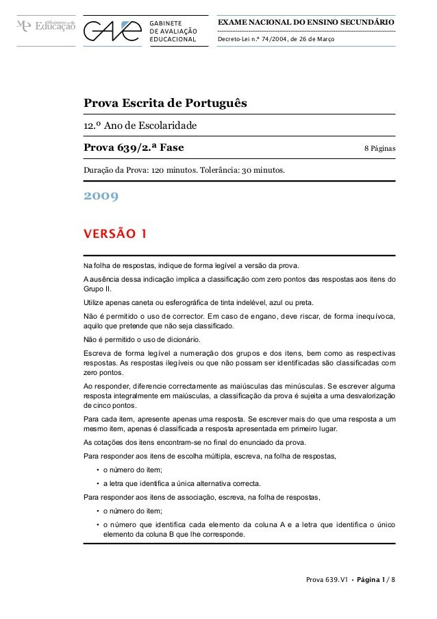 EXAME NACIONAL DO ENSINO SECUNDÁRIO                                           Decreto-Lei n.º 74/2004, de 26 de MarçoProva...