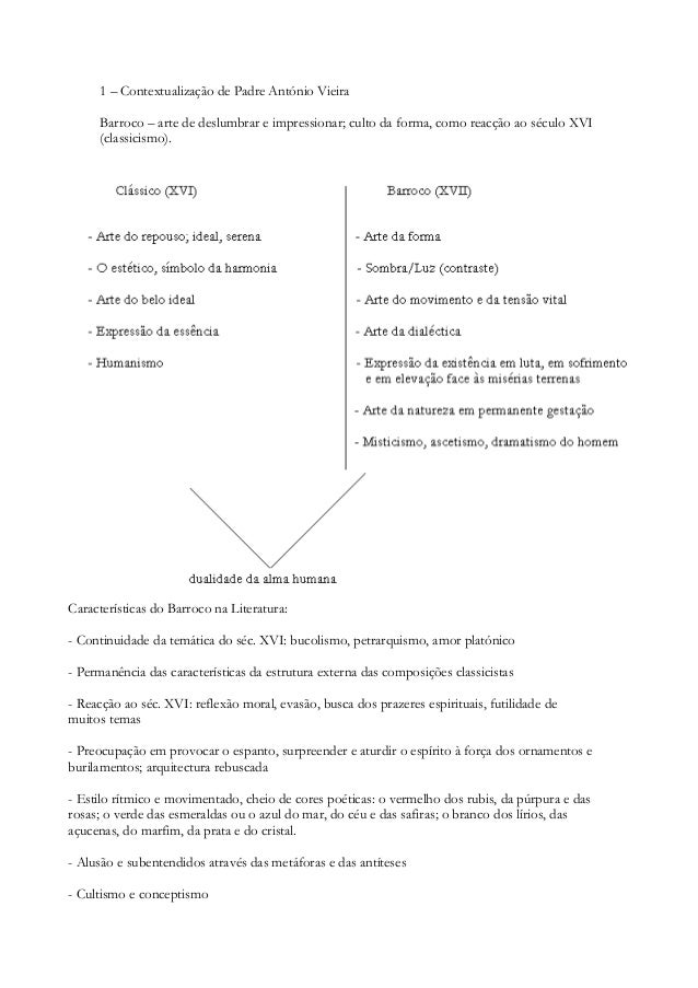 1 – Contextualização de Padre António Vieira Barroco – arte de deslumbrar e impressionar; culto da forma, como reacção ao ...