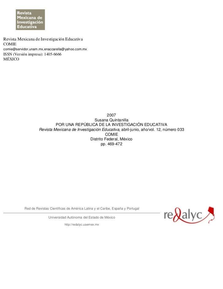 Revista Mexicana de Investigación EducativaCOMIEcomie@servidor.unam.mx,enaccarella@yahoo.com.mxISSN (Versión impresa): 140...