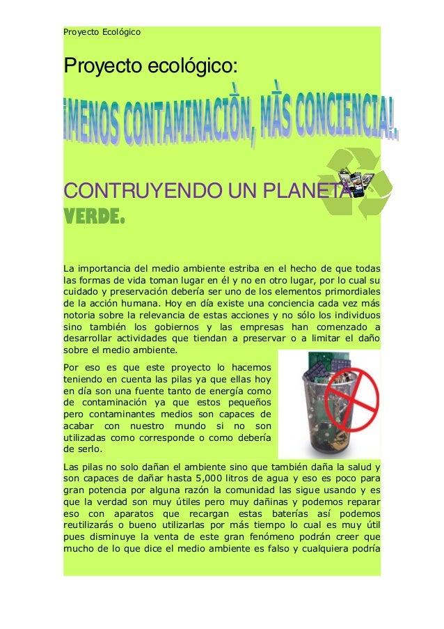 Proyecto Ecológico Proyecto ecológico: CONTRUYENDO UN PLANETA VERDE. La importancia del medio ambiente estriba en el hecho...