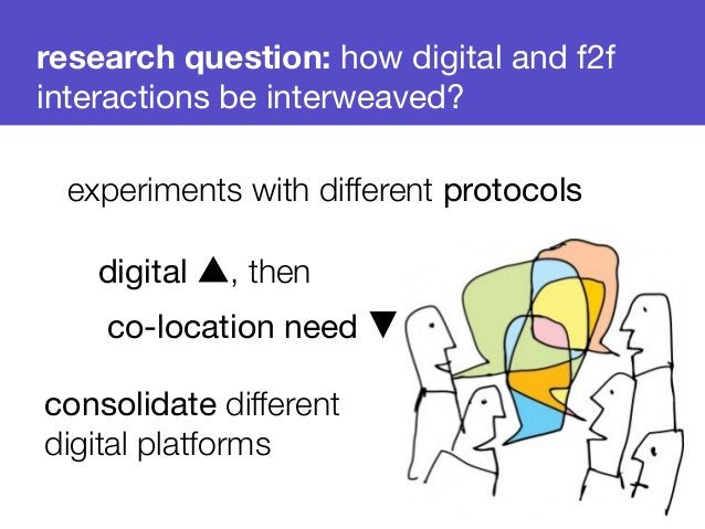 research question: how digital and f2f  interactions be interweaved?  experiments with different protocols  digital ▲, the...