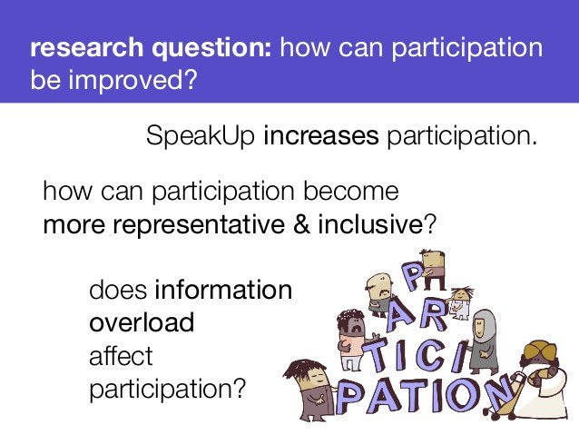 research question: how can participation  be improved?  SpeakUp increases participation.  how can participation become  mo...