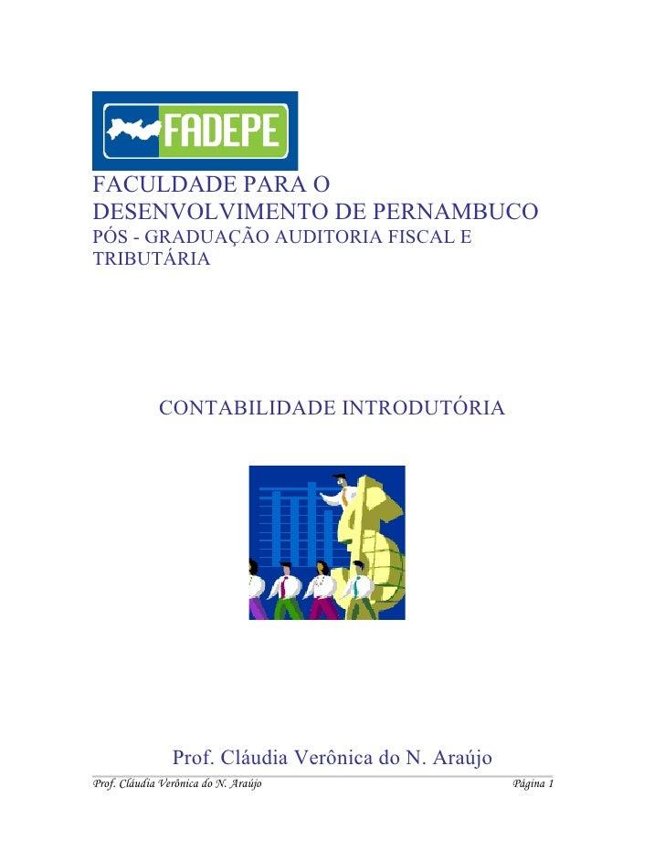 FACULDADE PARA O DESENVOLVIMENTO DE PERNAMBUCO PÓS - GRADUAÇÃO AUDITORIA FISCAL E TRIBUTÁRIA                  CONTABILIDAD...