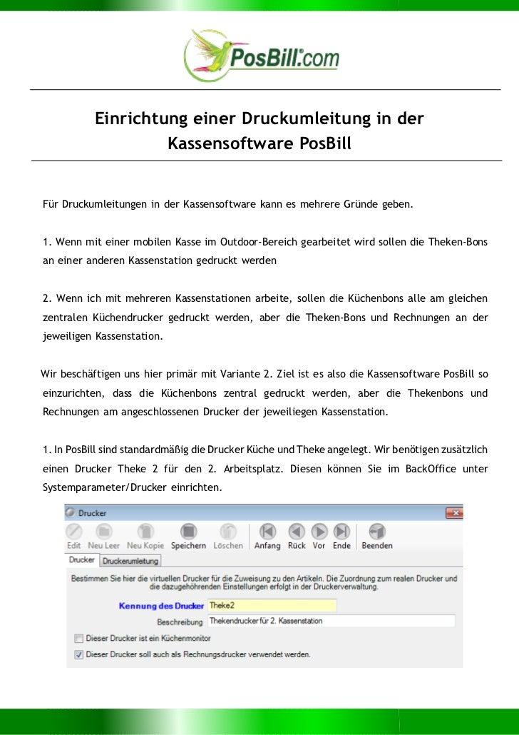 Einrichtung einer Druckumleitung in der                    Kassensoftware PosBillFür Druckumleitungen in der Kassensoftwar...