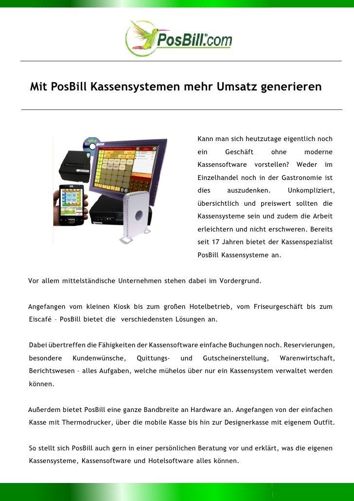Mit PosBill Kassensystemen mehr Umsatz generieren                                                     Kann man sich heutzu...