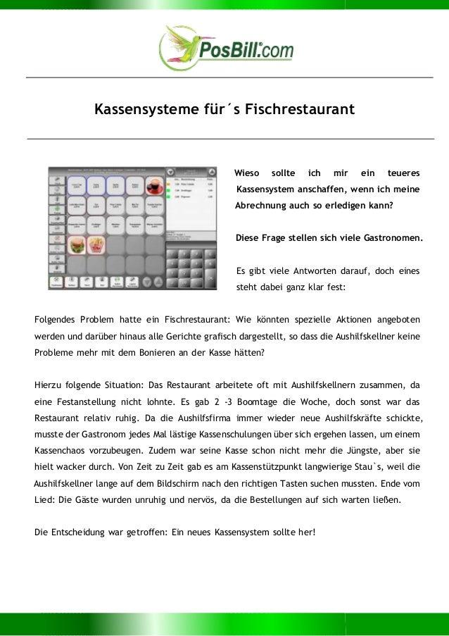 Kassensysteme für´s Fischrestaurant Wieso sollte ich mir ein teueres Kassensystem anschaffen, wenn ich meine Abrechnung au...