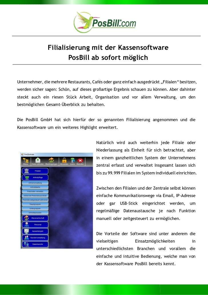 Filialisierung mit der Kassensoftware                       PosBill ab sofort möglichUnternehmer, die mehrere Restaurants,...