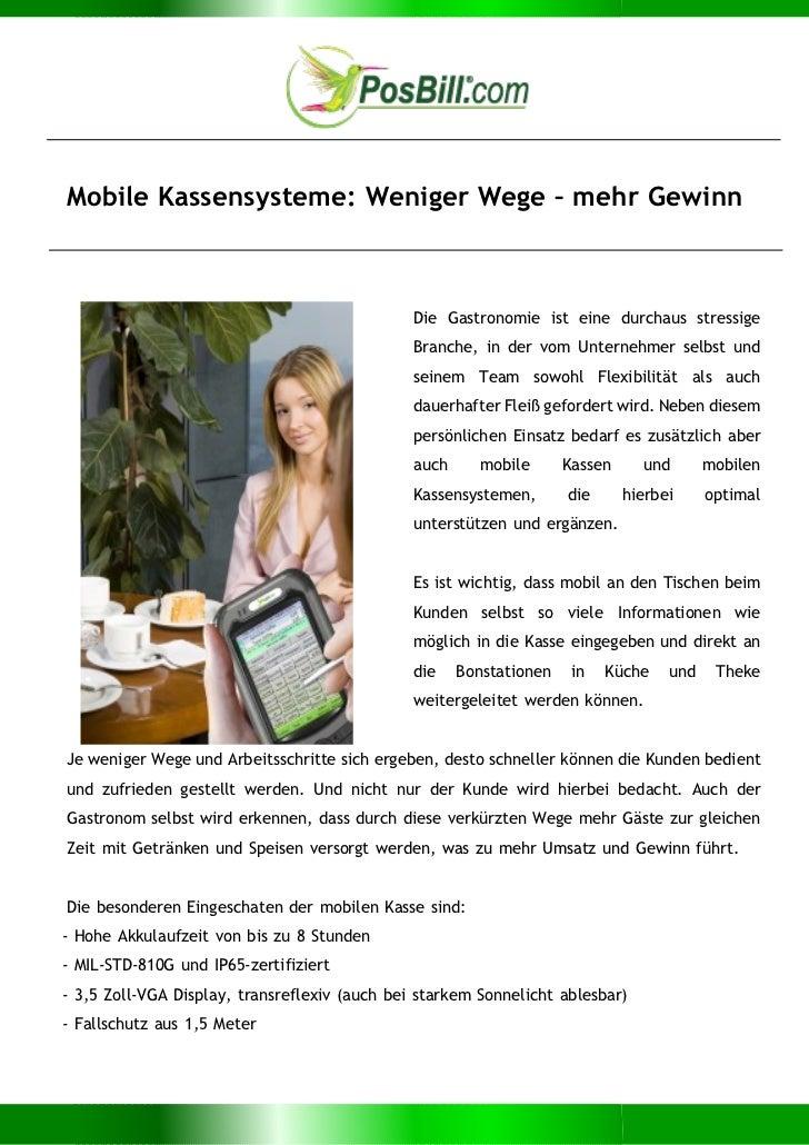 Mobile Kassensysteme: Weniger Wege – mehr Gewinn                                               Die Gastronomie ist eine du...