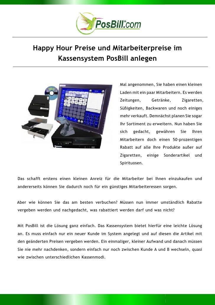 Happy Hour Preise und Mitarbeiterpreise im             Kassensystem PosBill anlegen                                       ...