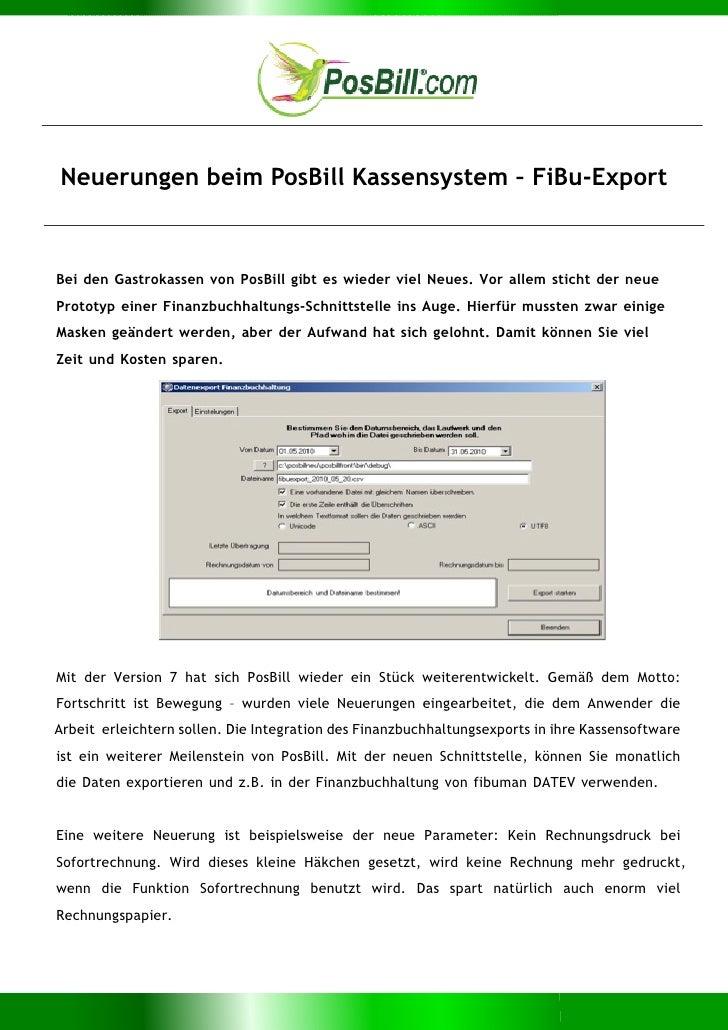 Neuerungen beim PosBill Kassensystem – FiBu-ExportBei den Gastrokassen von PosBill gibt es wieder viel Neues. Vor allem st...