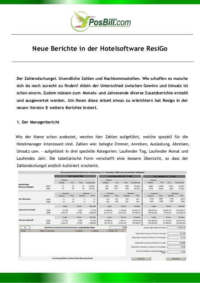 Neue Berichte in der Hotelsoftware ResiGo Der Zahlendschungel. Unendliche Zahlen und Nachkommastellen. Wie schaffen es man...