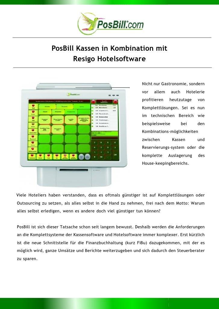 PosBill Kassen in Kombination mit                       Resigo Hotelsoftware                                              ...