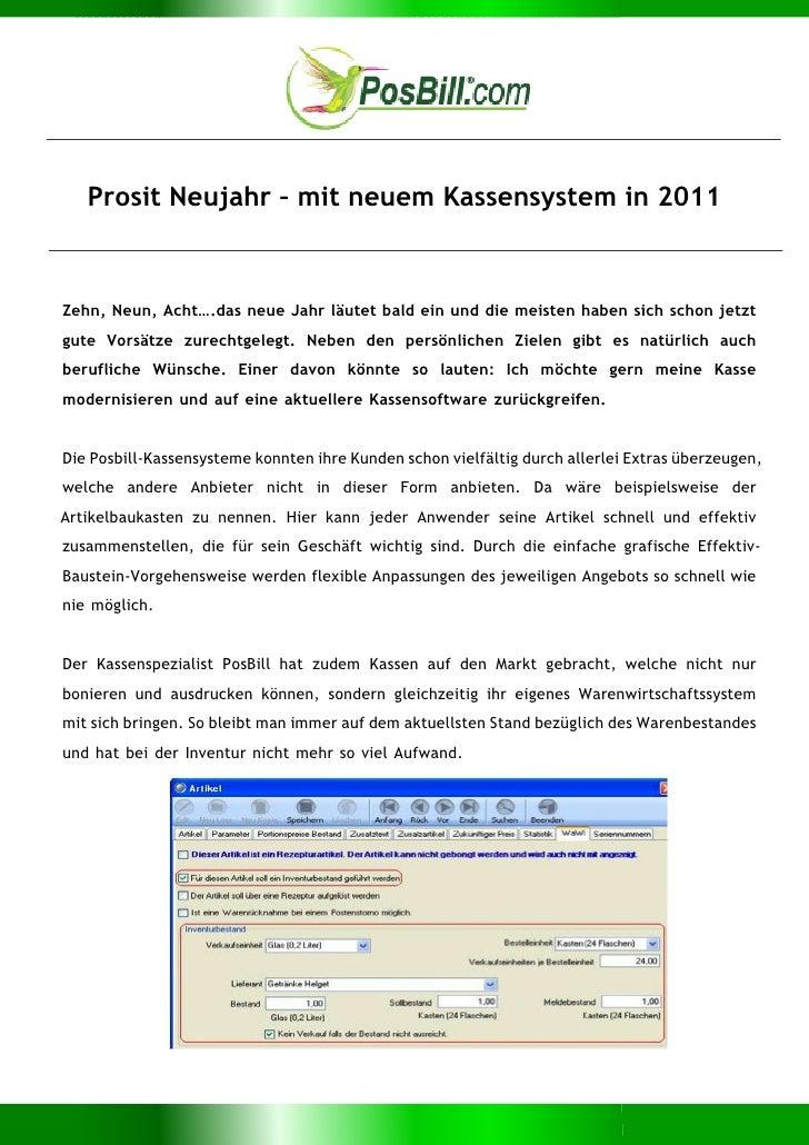 Prosit Neujahr – mit neuem Kassensystem in 2011Zehn, Neun, Acht….das neue Jahr läutet bald ein und die meisten haben sich ...
