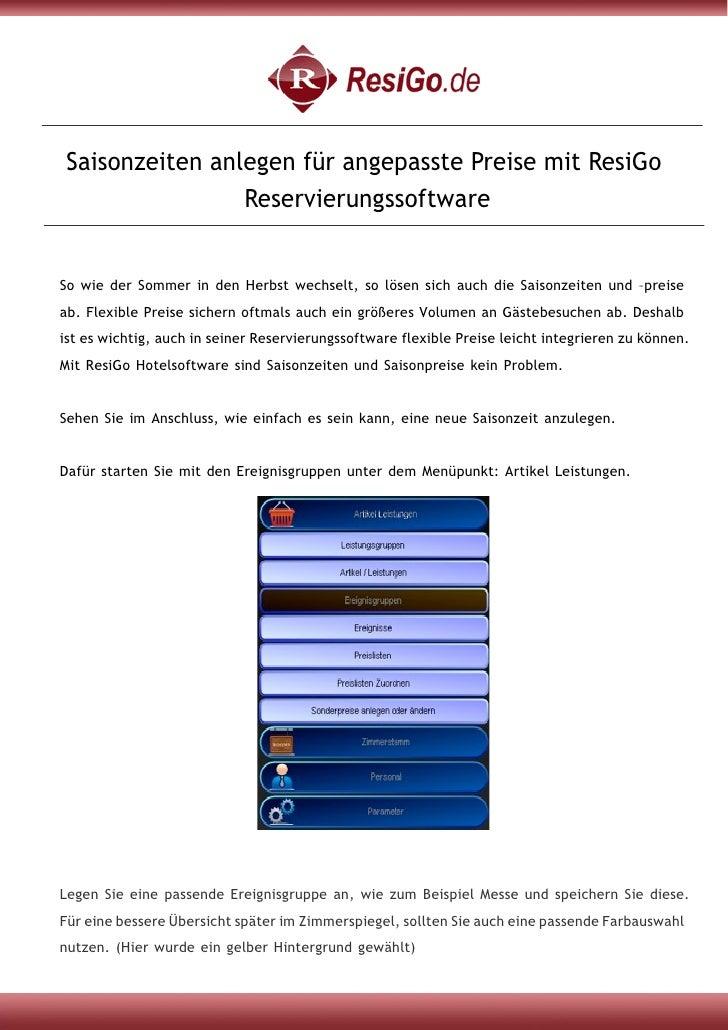 Saisonzeiten anlegen für angepasste Preise mit ResiGo Reservierungssoftware