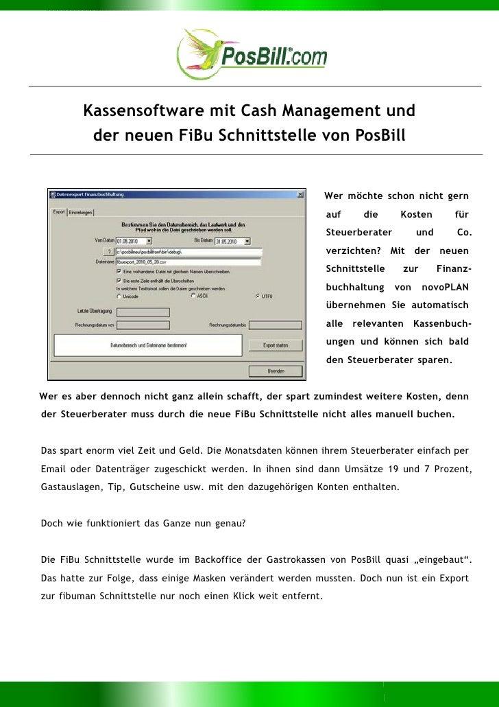 Kassensoftware mit Cash Management und          der neuen FiBu Schnittstelle von PosBill                                  ...