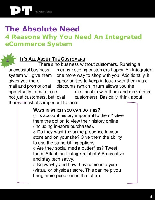 The Absolute Need  4 Reasons Why You Need An Integrated eCommerce System IT'S ALL ABOUT THE CUSTOMERS: There's no business...