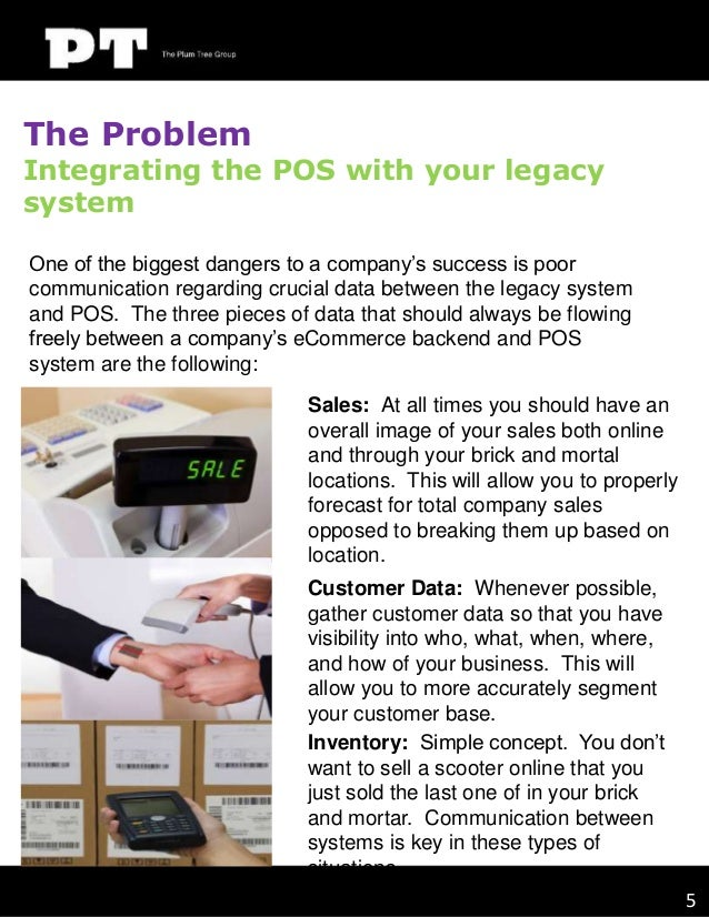The Problem  Integrating the POS with your legacy system One of the biggest dangers to a company's success is poor communi...