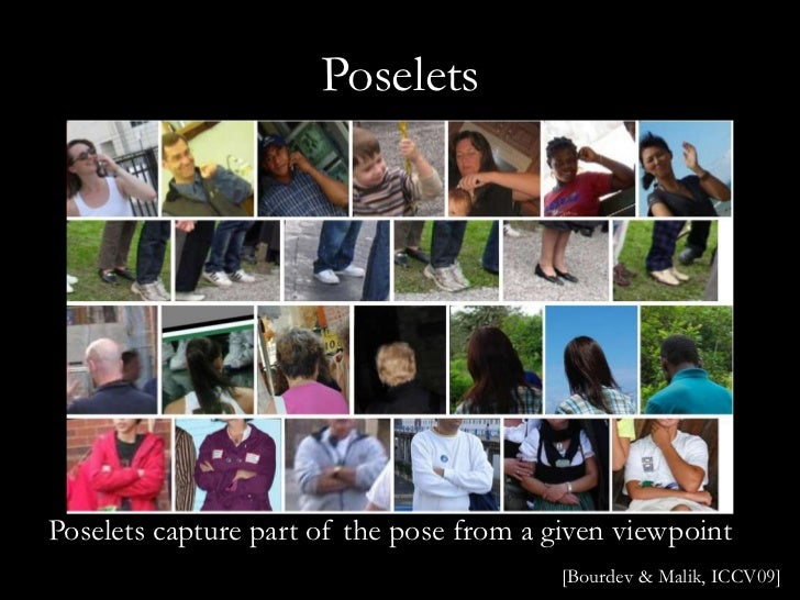 PoseletsPoselets capture part of the pose from a given viewpoint                                          [Bourdev & Malik...