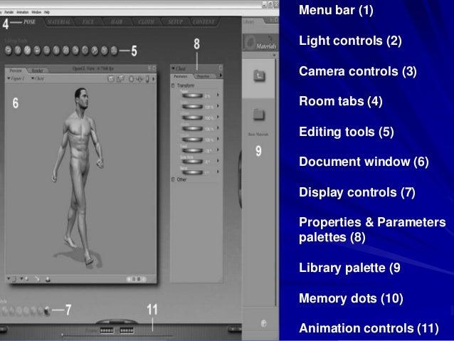 Menu bar (1)Light controls (2)Camera controls (3)Room tabs (4)Editing tools (5)Document window (6)Display controls (7)Prop...