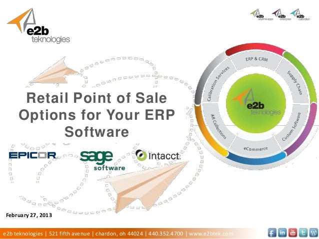 Retail Point of Sale    Options for Your ERP                 Software Click to add subtitle  Presenter Name  Date of Prese...
