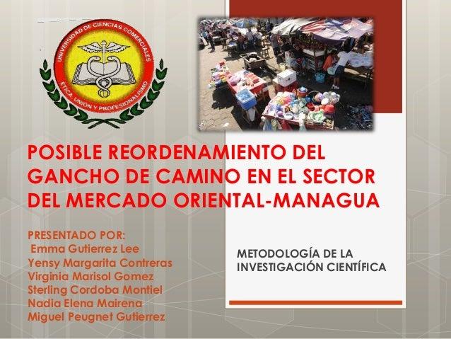 POSIBLE REORDENAMIENTO DEL GANCHO DE CAMINO EN EL SECTOR DEL MERCADO ORIENTAL-MANAGUA PRESENTADO POR: Emma Gutierrez Lee Y...