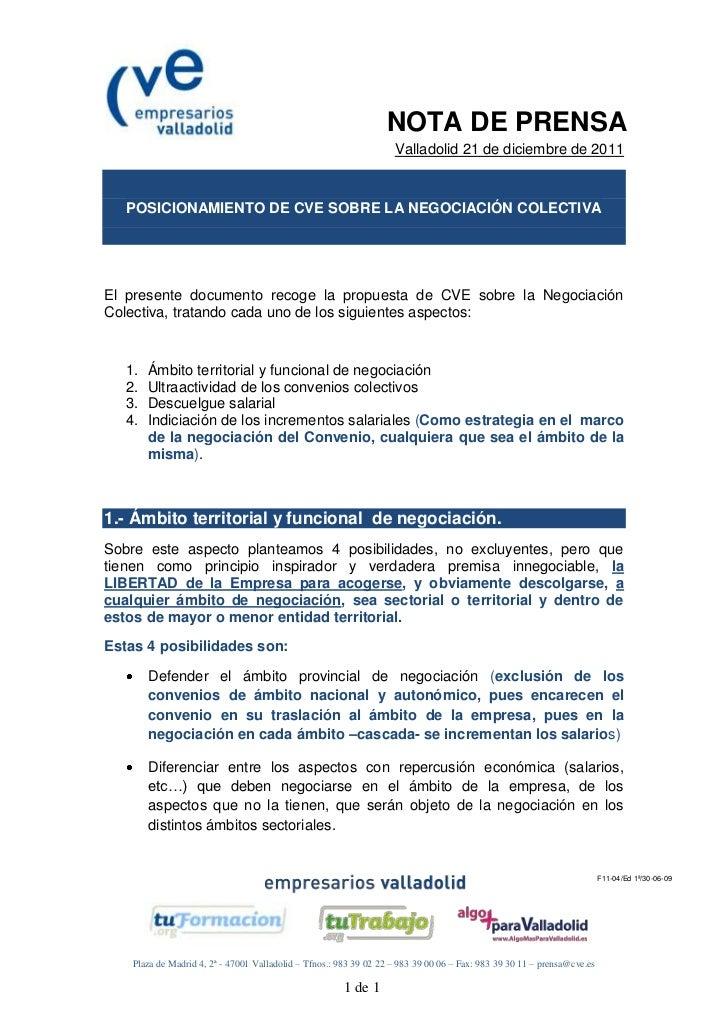 NOTA DE PRENSA                                                                    Valladolid 21 de diciembre de 2011   POS...