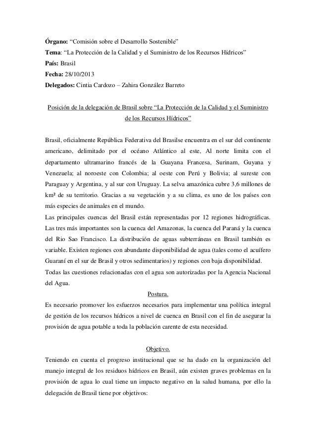 """Órgano: """"Comisión sobre el Desarrollo Sostenible"""" Tema: """"La Protección de la Calidad y el Suministro de los Recursos Hídri..."""