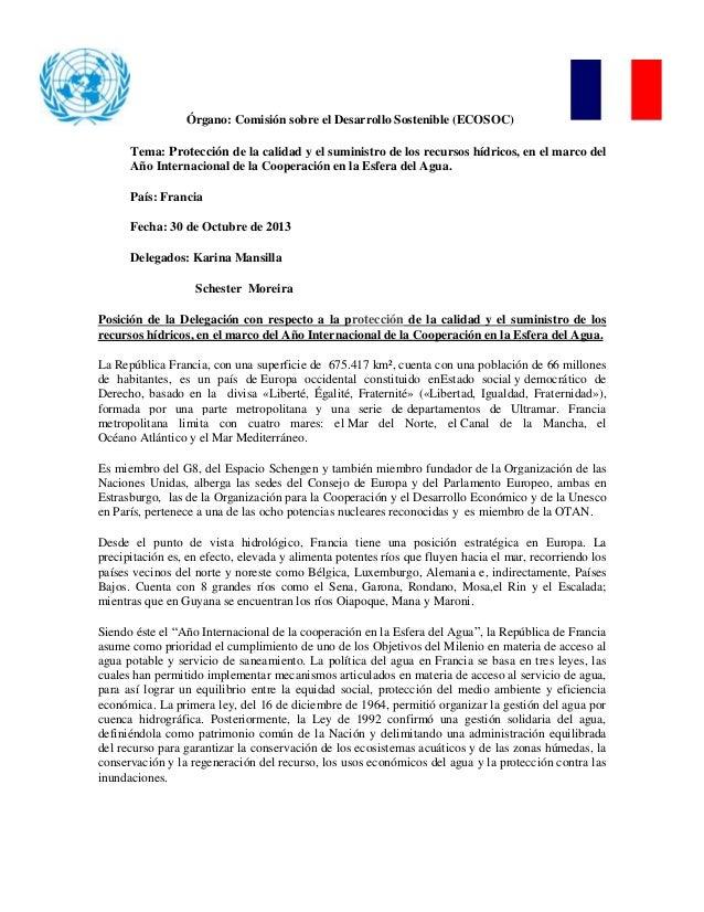 Órgano: Comisión sobre el Desarrollo Sostenible (ECOSOC) Tema: Protección de la calidad y el suministro de los recursos hí...