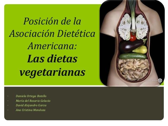 Posición de la Asociación Dietética Americana:  Las dietas vegetarianas •  • • •  Daniela Ortega Botello María del Rosario...