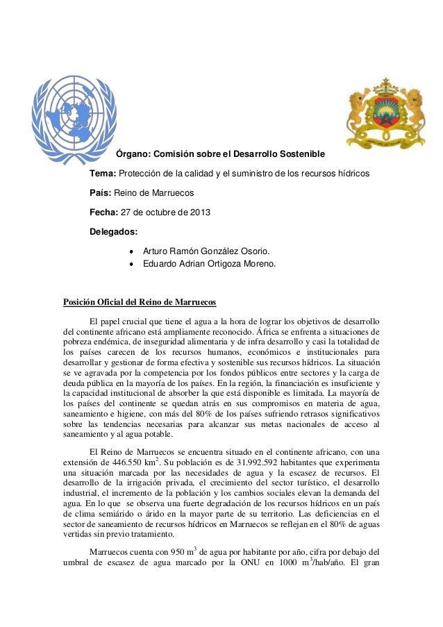 Órgano: Comisión sobre el Desarrollo Sostenible Tema: Protección de la calidad y el suministro de los recursos hídricos Pa...