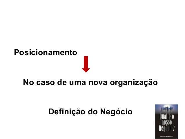 Posicionamento No caso de uma nova organização Definição do Negócio