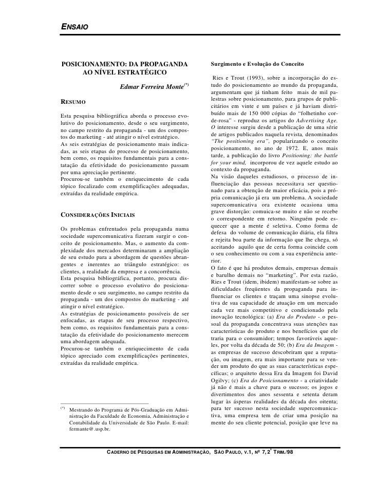 ENSAIO    POSICIONAMENTO: DA PROPAGANDA                                Surgimento e Evolução do Conceito      AO NÍVEL EST...