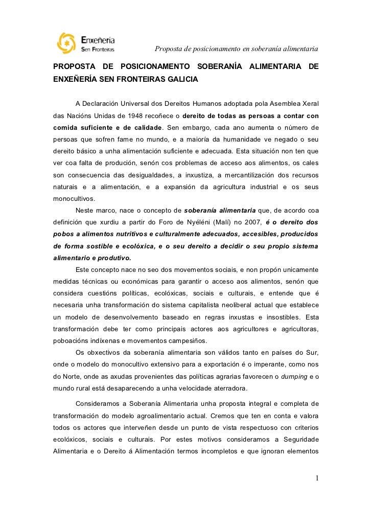 Proposta de posicionamento en soberanía alimentariaPROPOSTA DE POSICIONAMENTO SOBERANÍA ALIMENTARIA DEENXEÑERÍA SEN FRONTE...