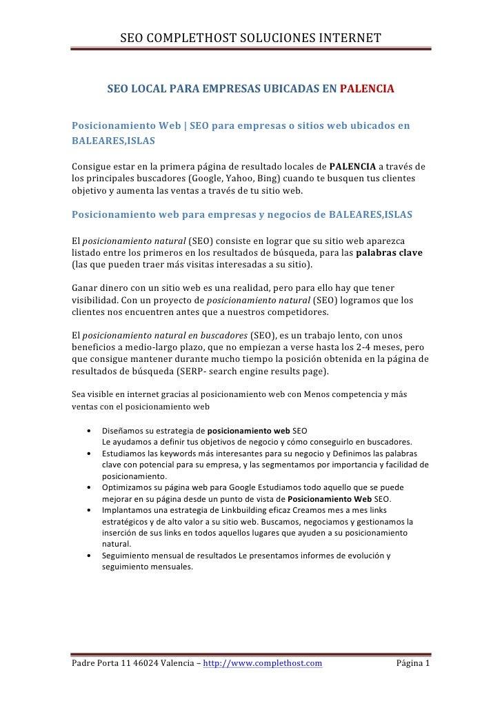 SEO COMPLETHOST SOLUCIONES INTERNET        SEO LOCAL PARA EMPRESAS UBICADAS EN PALENCIAPosicionamiento Web | SEO para empr...