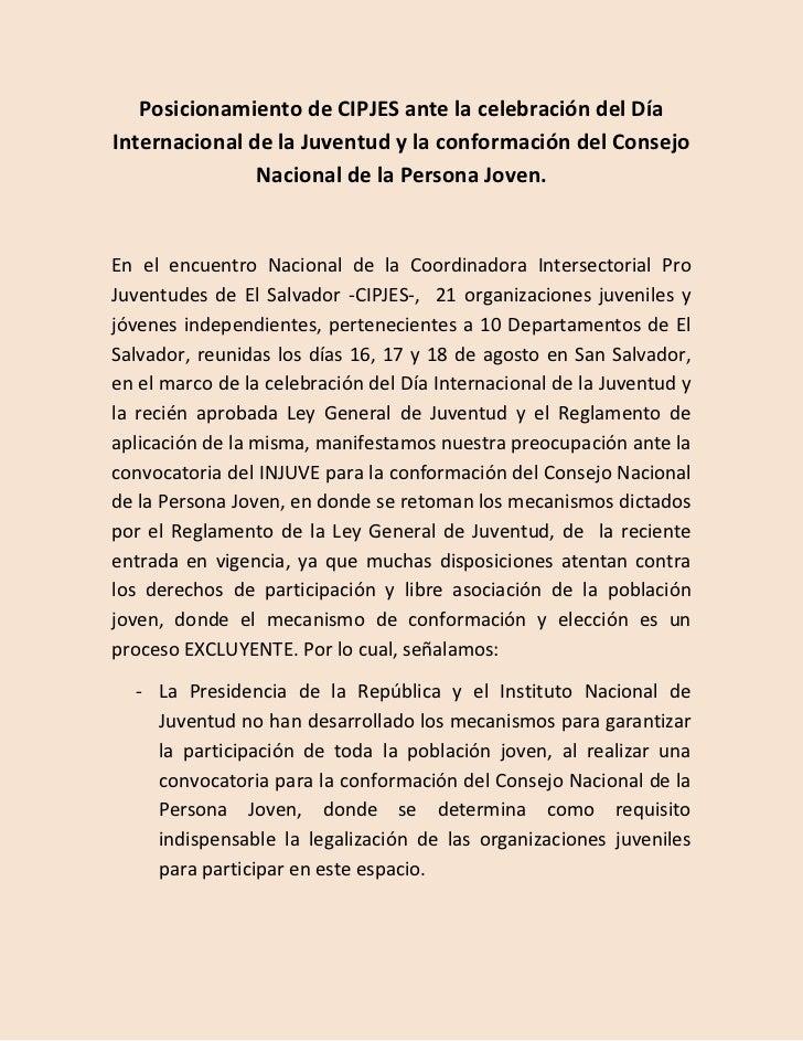 Posicionamiento de CIPJES ante la celebración del DíaInternacional de la Juventud y la conformación del Consejo           ...